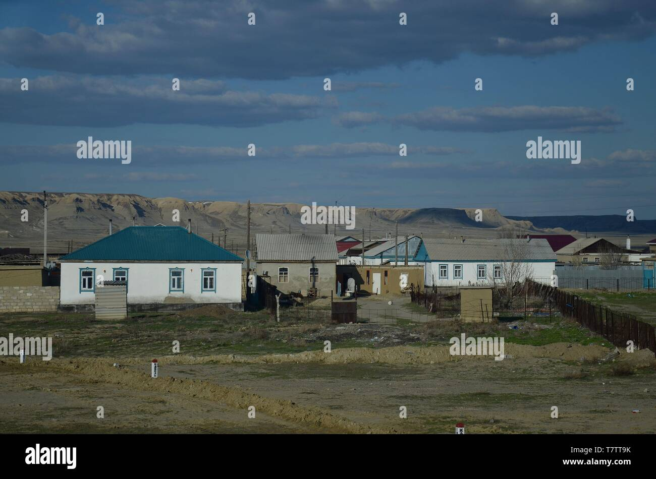 Das Dorf Sekseuil in Zentral-Kasachstan Stock Photo