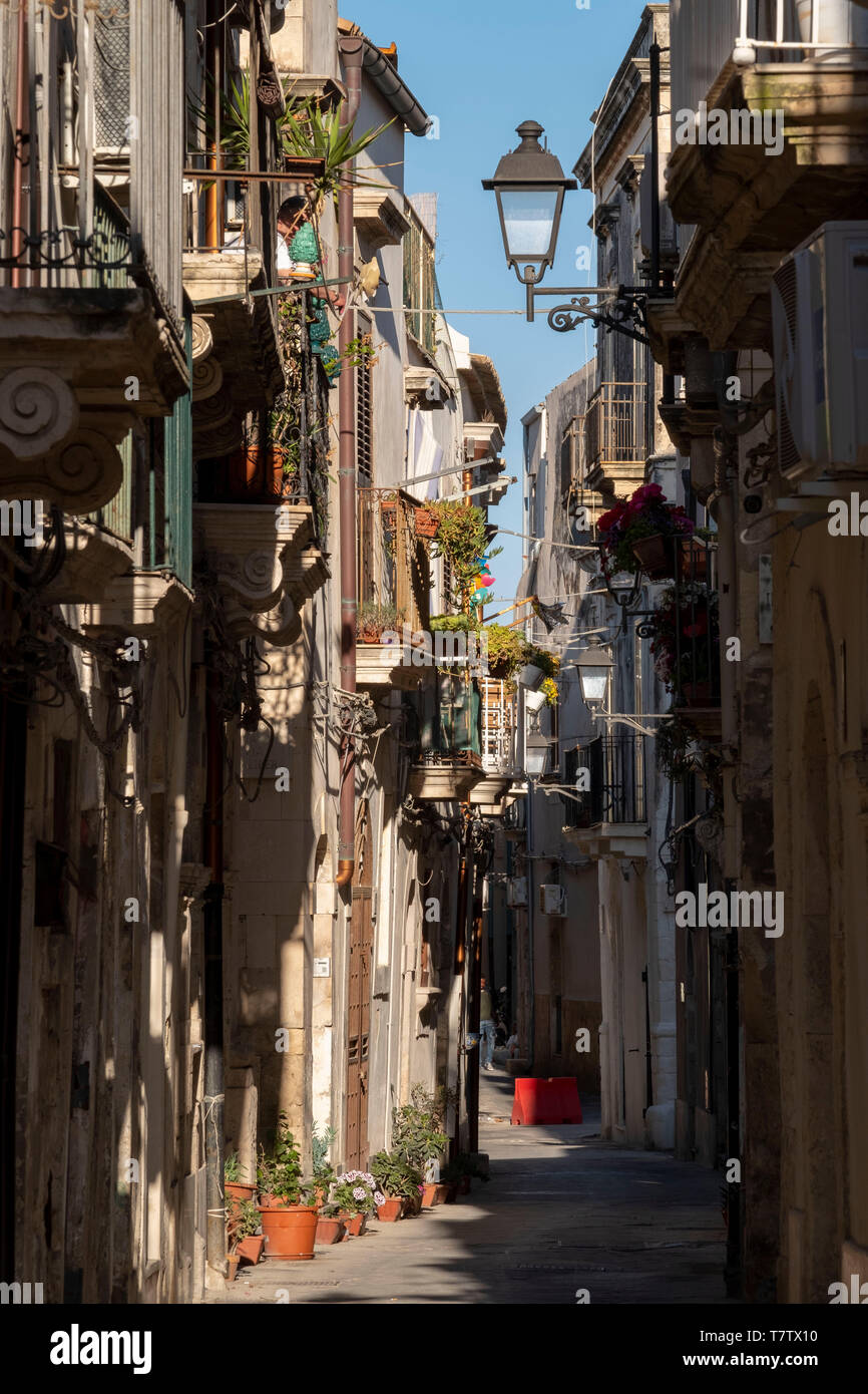 Historic streets  on Ortygia Island, Syracuse, Sicily. - Stock Image