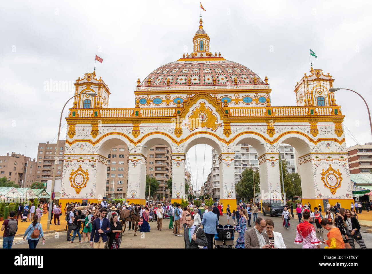 Seville, Spain - May 5, 2019: The main door of the Fair of Seville on May, 5, 2019 in Seville, Spain - Stock Image