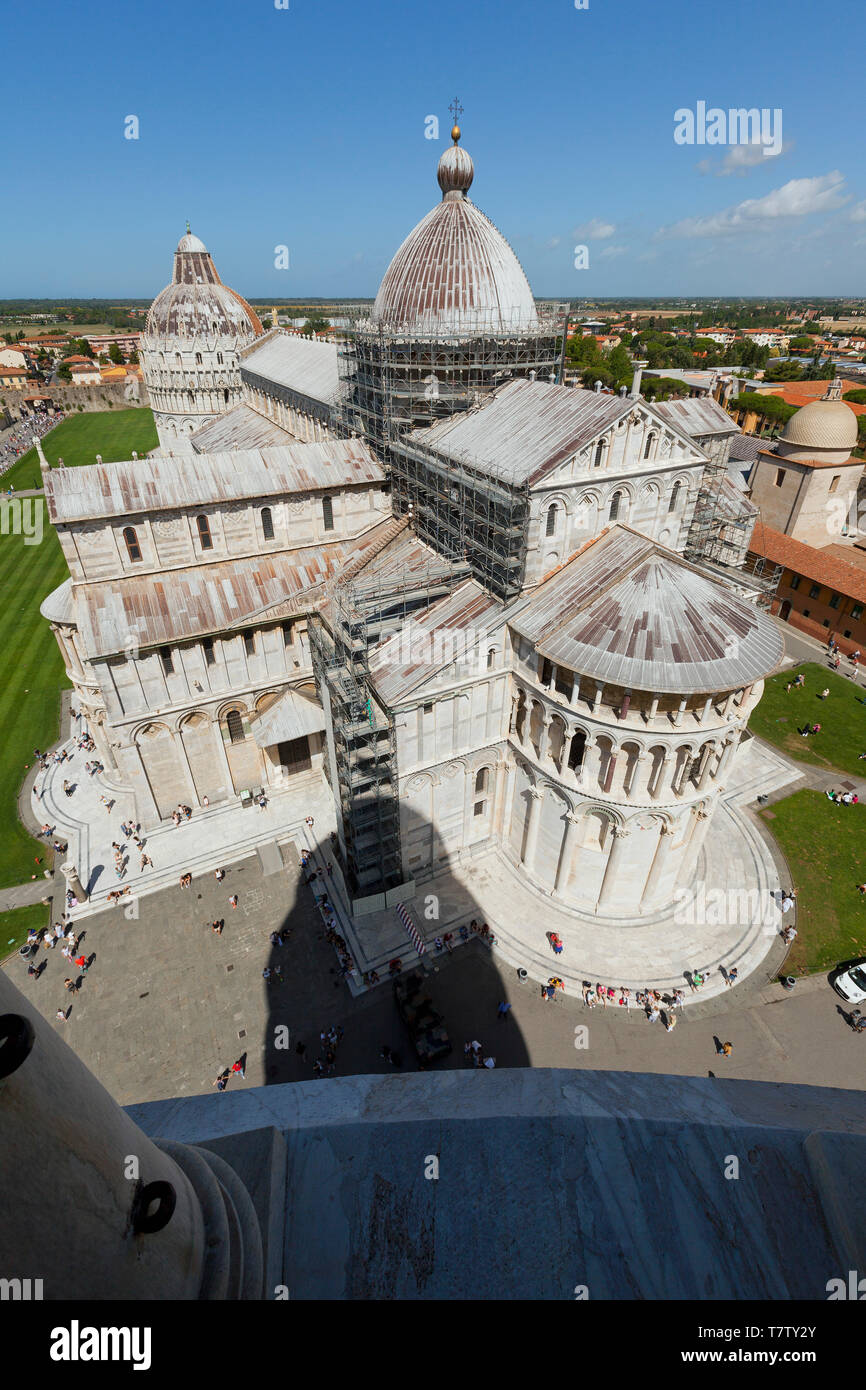 Pisa Cathedral, viewed from the Leaning Tower of Pisa Stock Photo