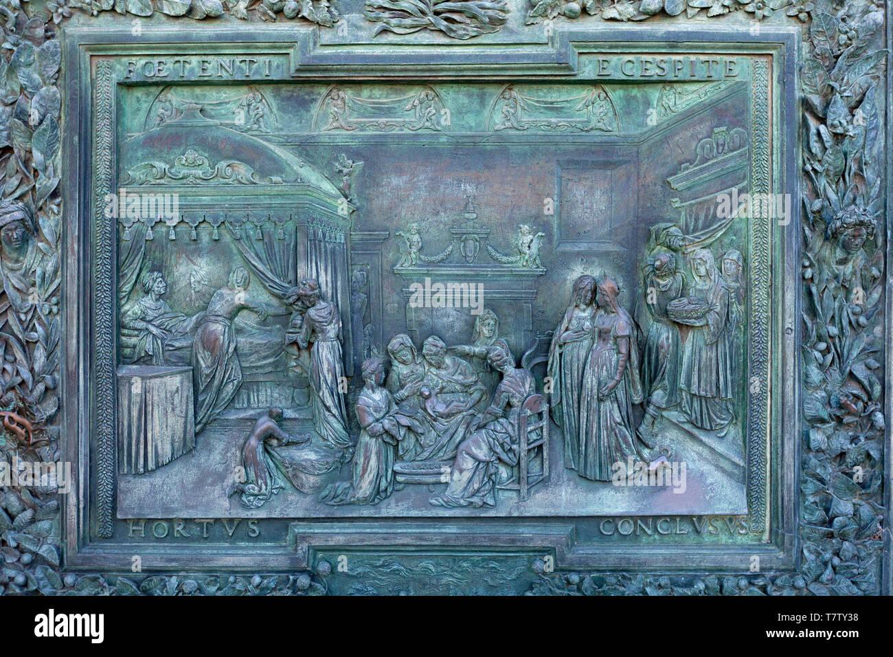 Detail of bronze doors of Pisa Cathedral Stock Photo