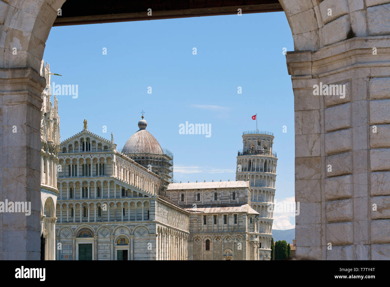 Piazza dei Miracoli, showing the the Cathedral and Leaning Tower of Pisa Stock Photo