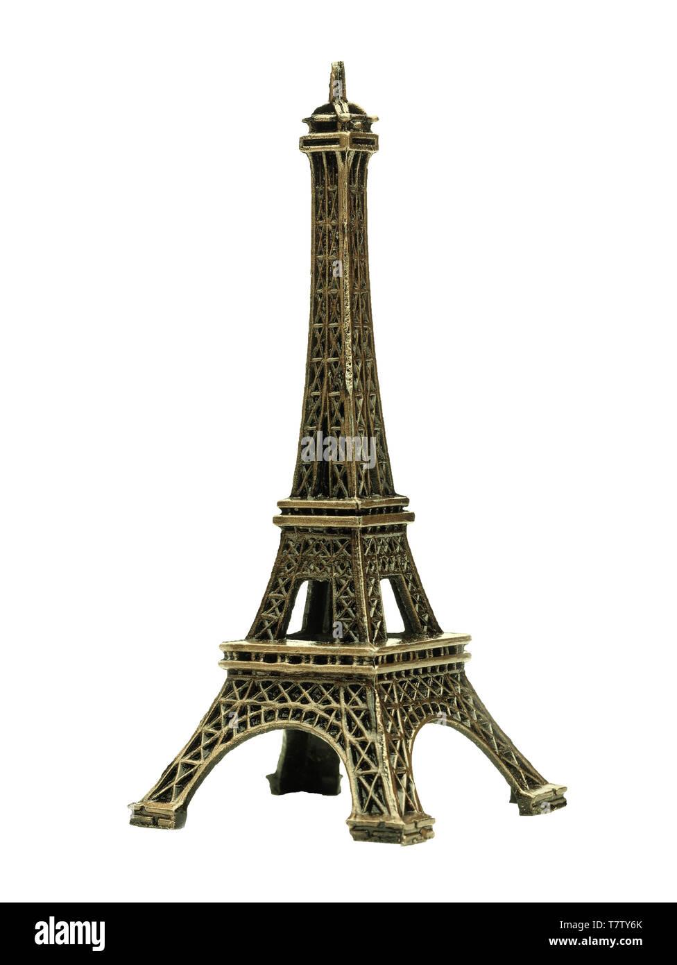 Eiffel tower paris france souvenir isolated on white - Stock Image