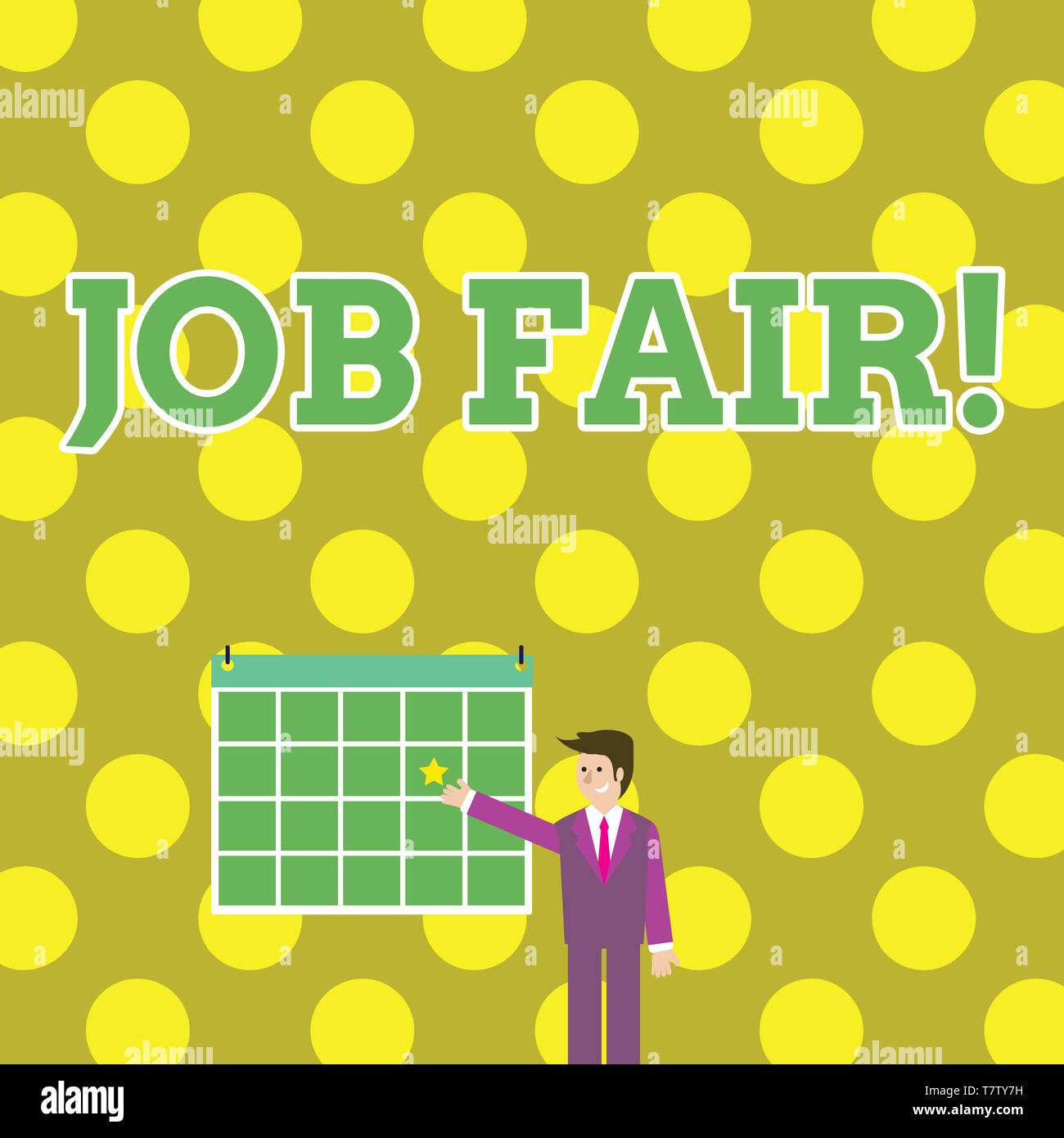 Writing note showing Job Fair. Business concept for event in which employers recruiters give information to employees Businessman Smiling and Pointing - Stock Image