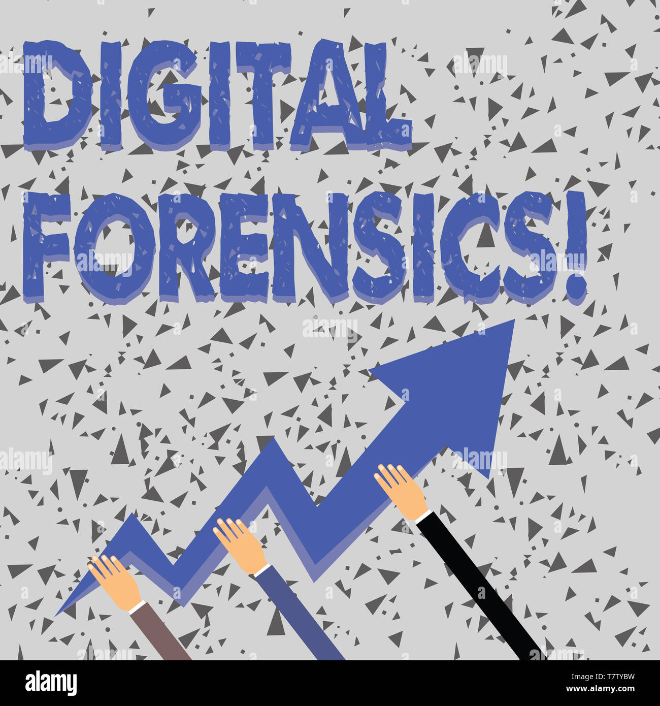 Word writing text Digital Forensics. Business photo showcasing investigation of material found in digital devices Three Hands Holding Colorful Zigzag  - Stock Image