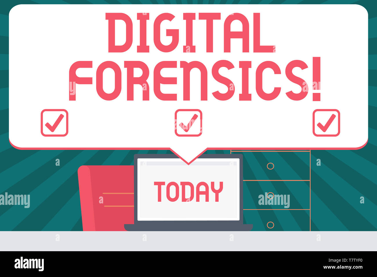 Handwriting text writing Digital Forensics. Conceptual photo investigation of material found in digital devices Blank Huge Speech Bubble Pointing to W - Stock Image