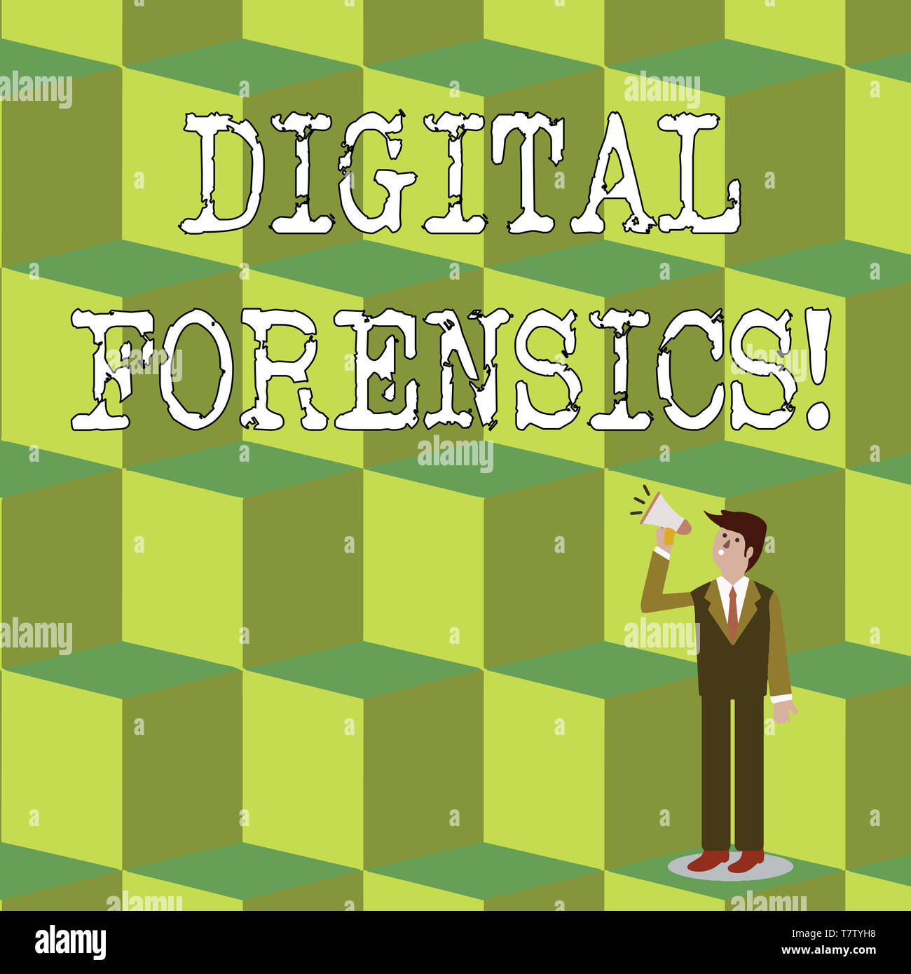 Handwriting text Digital Forensics. Conceptual photo investigation of material found in digital devices Businessman Looking Up, Holding and Talking on - Stock Image