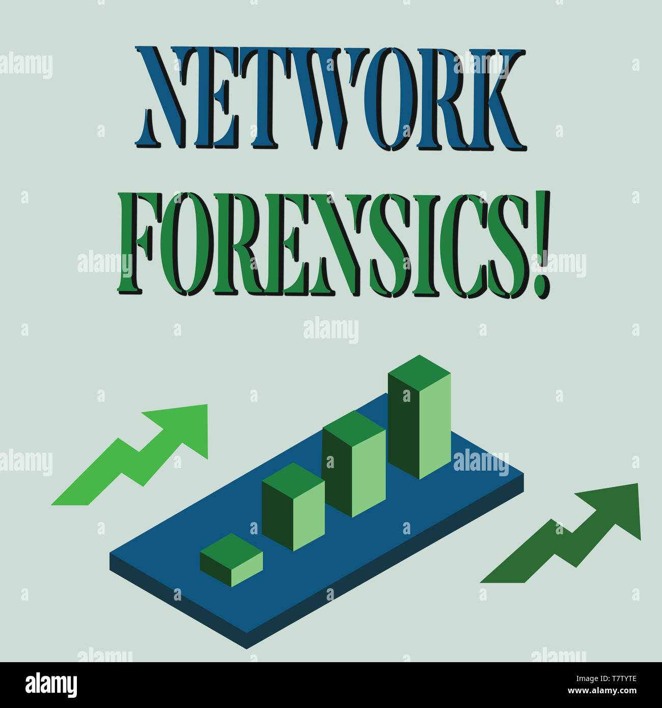 Word writing text Network Forensics. Business photo showcasing monitoring and analysis of computer network traffic Colorful Clustered 3D Bar Chart Gra - Stock Image