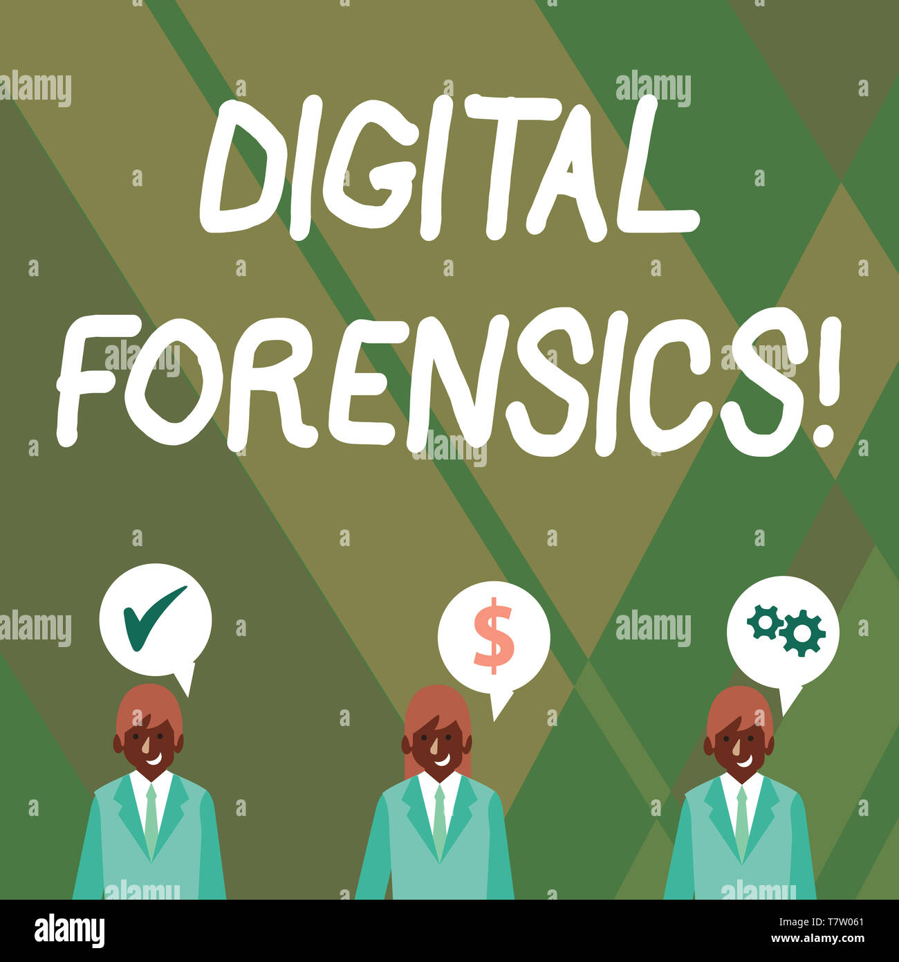 Word writing text Digital Forensics. Business photo showcasing investigation of material found in digital devices Businessmen Each has their Own Speec - Stock Image