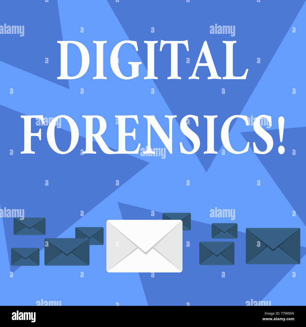 Writing note showing Digital Forensics. Business concept for investigation of material found in digital devices Color Envelopes in Different Sizes wit - Stock Image