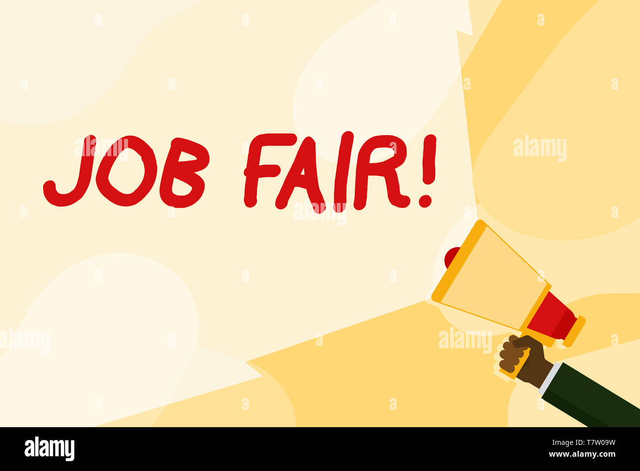 Text sign showing Job Fair. Business photo text event in which employers recruiters give information to employees Hand Holding Megaphone with Blank Wi - Stock Image