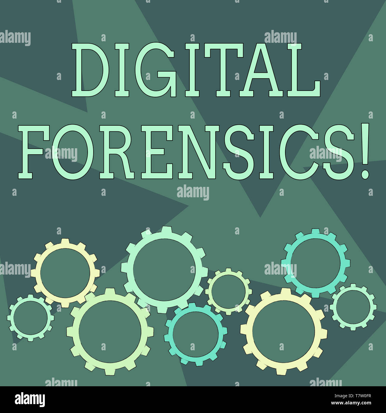 Conceptual hand writing showing Digital Forensics. Concept meaning investigation of material found in digital devices Cog Wheel Gear Engaging, Interlo - Stock Image