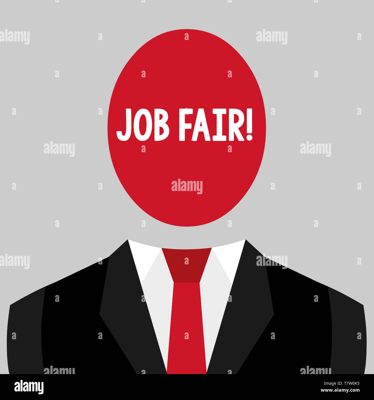 Writing note showing Job Fair. Business concept for event in which employers recruiters give information to employees - Stock Image