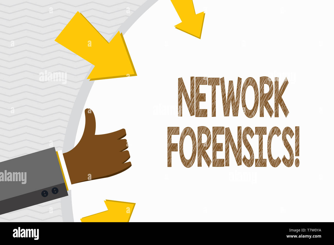 Conceptual hand writing showing Network Forensics. Concept meaning monitoring and analysis of computer network traffic Hand Gesturing Thumbs Up and Ho - Stock Image