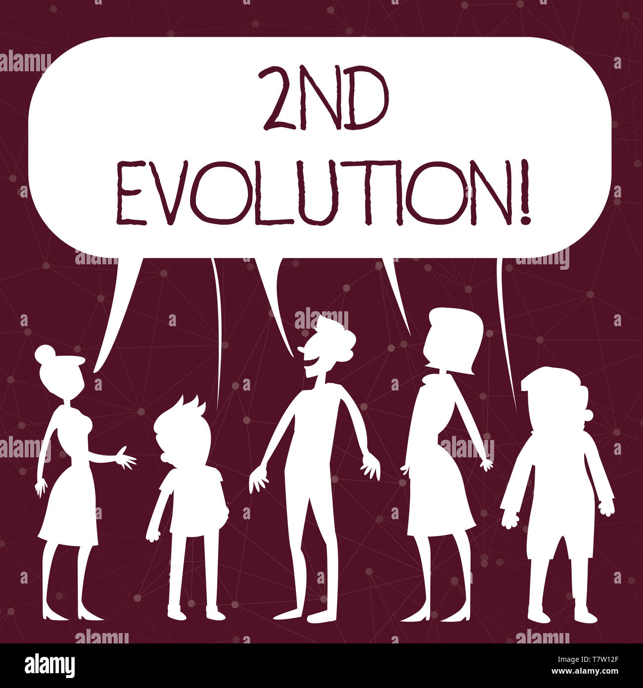 Handwriting text writing 2Nd Evolution. Conceptual photo change in the heritable features of biological populations Silhouette Figure of People Talkin - Stock Image