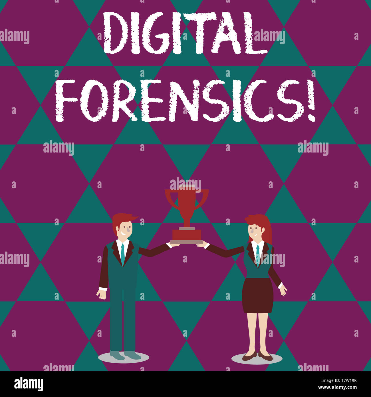 Text sign showing Digital Forensics. Business photo text investigation of material found in digital devices Man and Woman in Business Suit Holding Tog - Stock Image