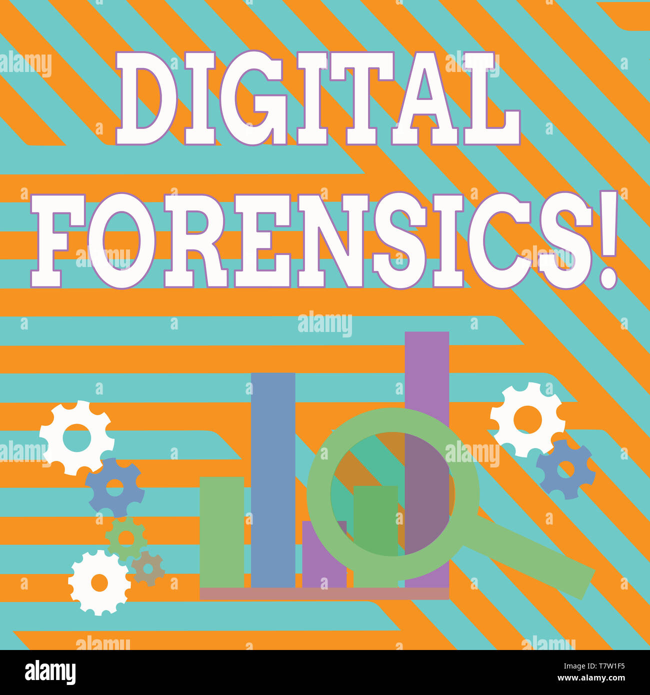 Text sign showing Digital Forensics. Business photo showcasing investigation of material found in digital devices Magnifying Glass Over Bar Column Cha - Stock Image