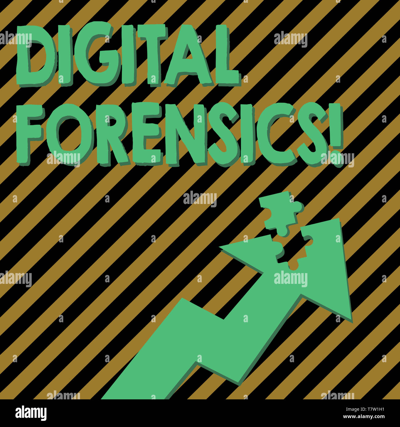 Conceptual hand writing showing Digital Forensics. Concept meaning investigation of material found in digital devices Arrow Pointing Up with Detached  - Stock Image