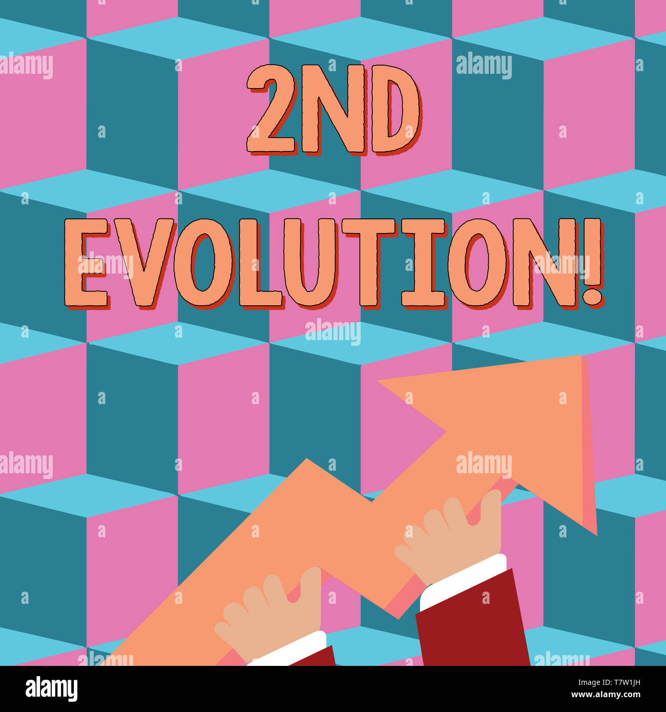 Conceptual hand writing showing 2Nd Evolution. Concept meaning change in the heritable features of biological populations photo of Hand Holding Colorf - Stock Image