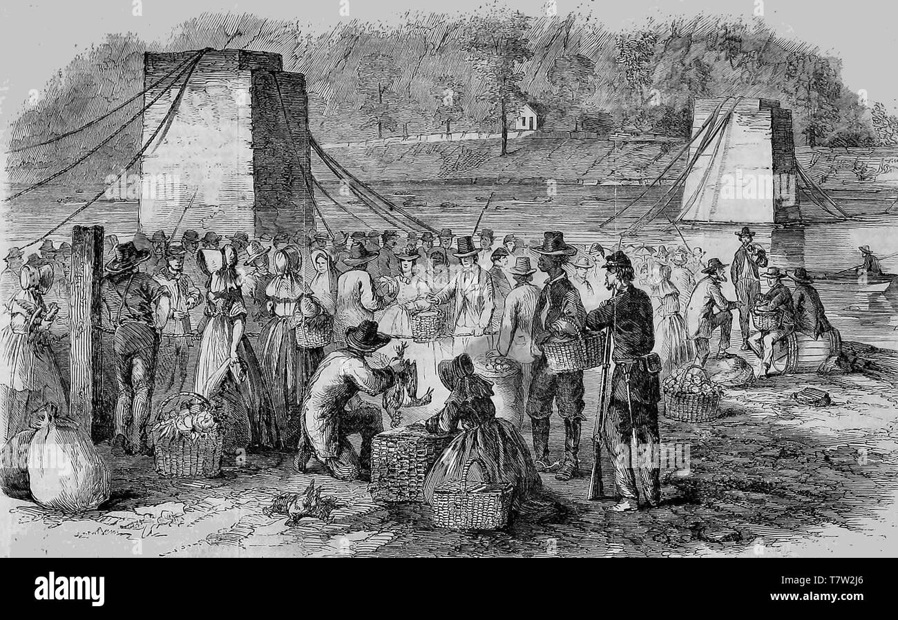 The Country Market at Harper's Ferry near the railroad bridge destroyed by the Rebels, 1864 - Stock Image