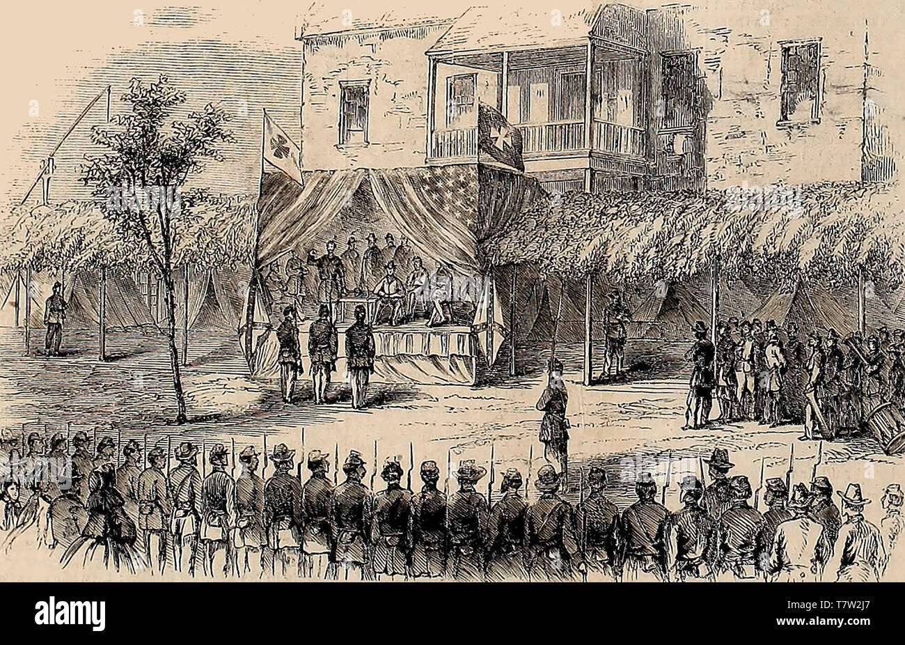 Presentation of Medals to gallant soldiers of the Fifth Army Corps, at General Warren's Headquarters, near Six-Mile House, Virginia, September 13, 1864 - Stock Image
