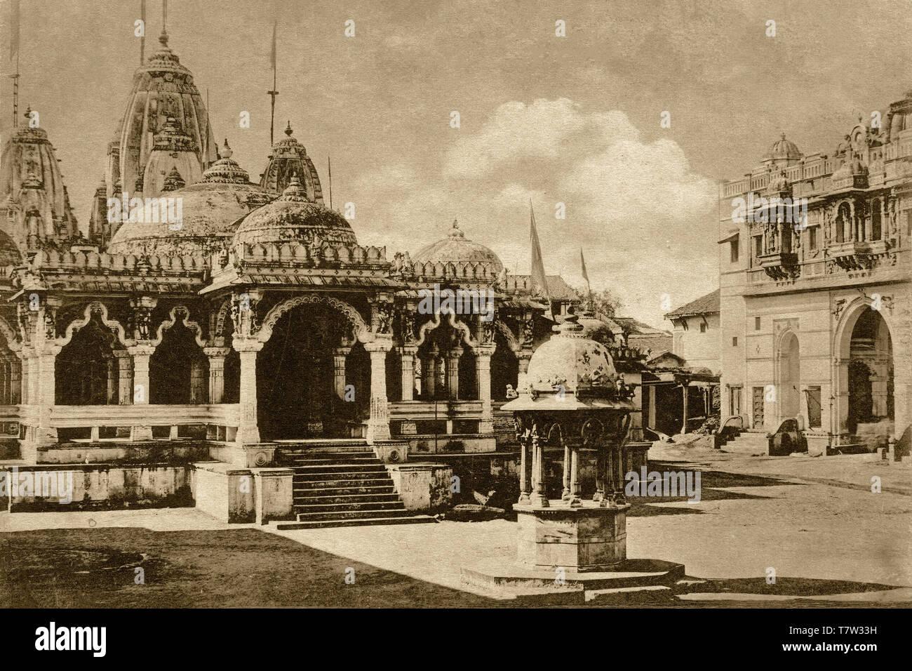 25-Apr-2012-Vintage photo of Swaminarayan temple Kalupur Ahmedabad now UNESCO world heritage city-Gujarat INDIA - Stock Image
