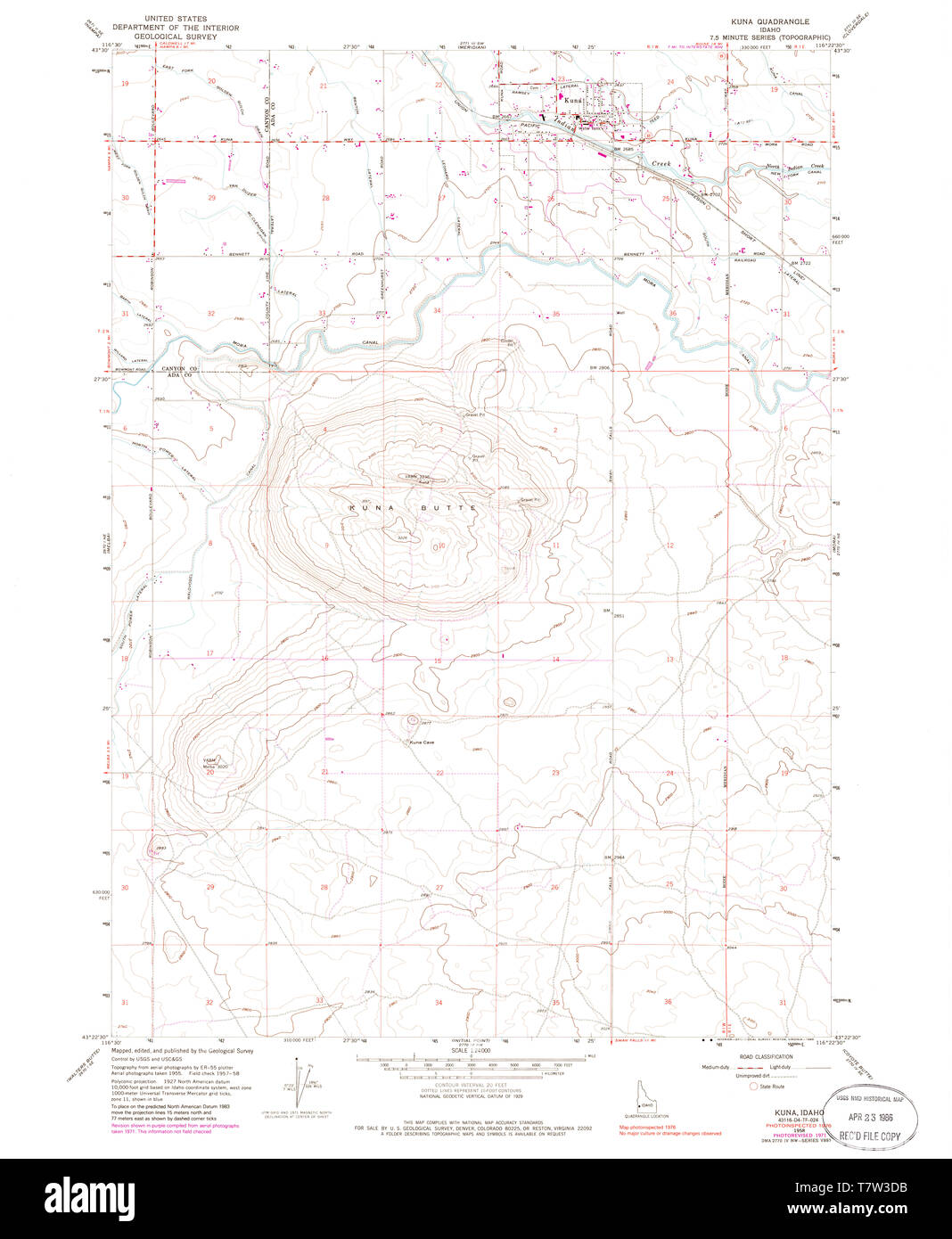 USGS TOPO Map Idaho ID Kuna 236791 1958 24000 Restoration ...
