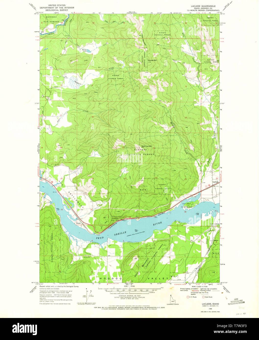 USGS TOPO Map Idaho ID Laclede 236798 1968 24000 Restoration ...