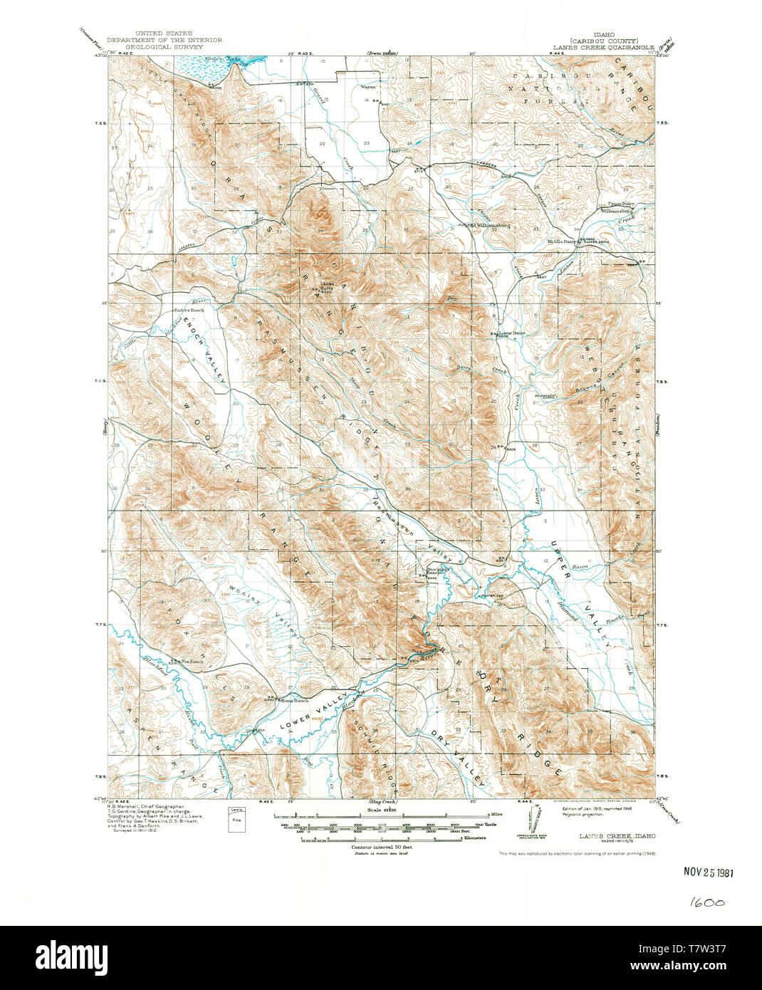 USGS TOPO Map Idaho ID Lanes Creek 239152 1915 62500 ...