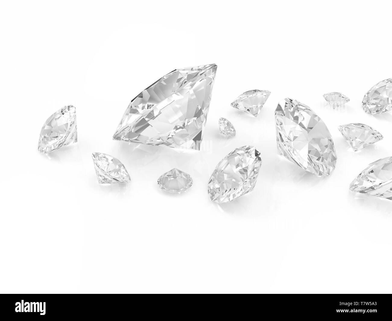 Diamonds isolated on white background - Stock Image