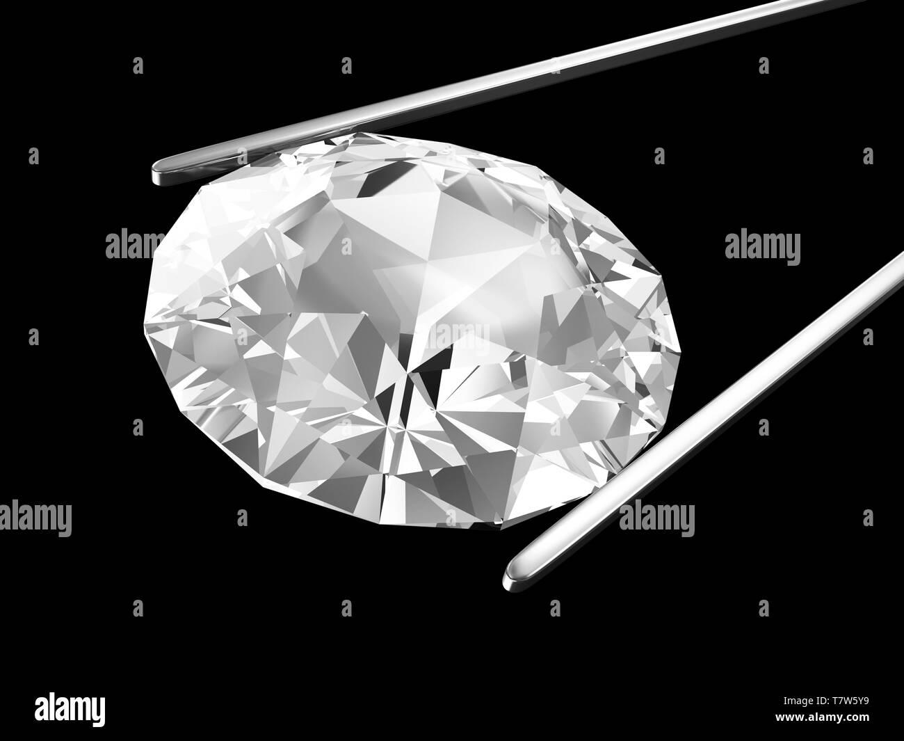 Diamond in the tweezers isolated on black background - Stock Image