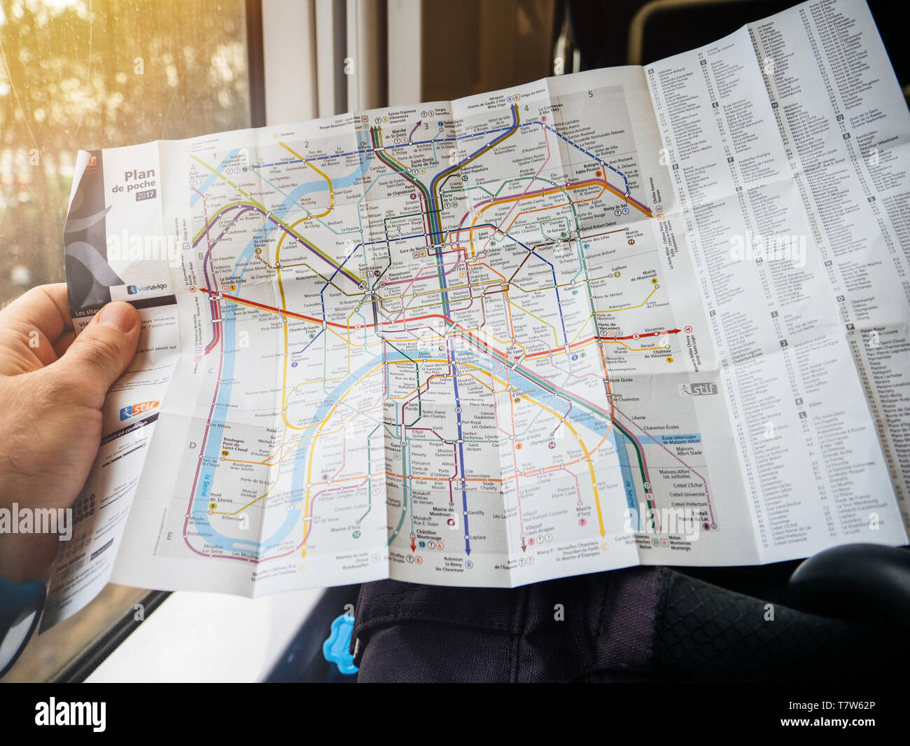 Map Of France With City Names.Paris France Jan 30 2018 Man Reading In Train Detailed Map Of