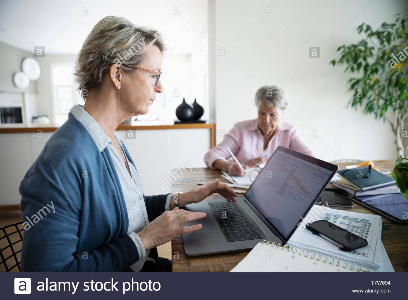 Woman paying bills online at laptop while senior mother colors in background - Stock Image