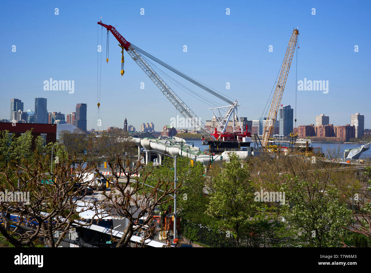 Hudson River Pier 55  also known as Diller park under construction in New York City Stock Photo