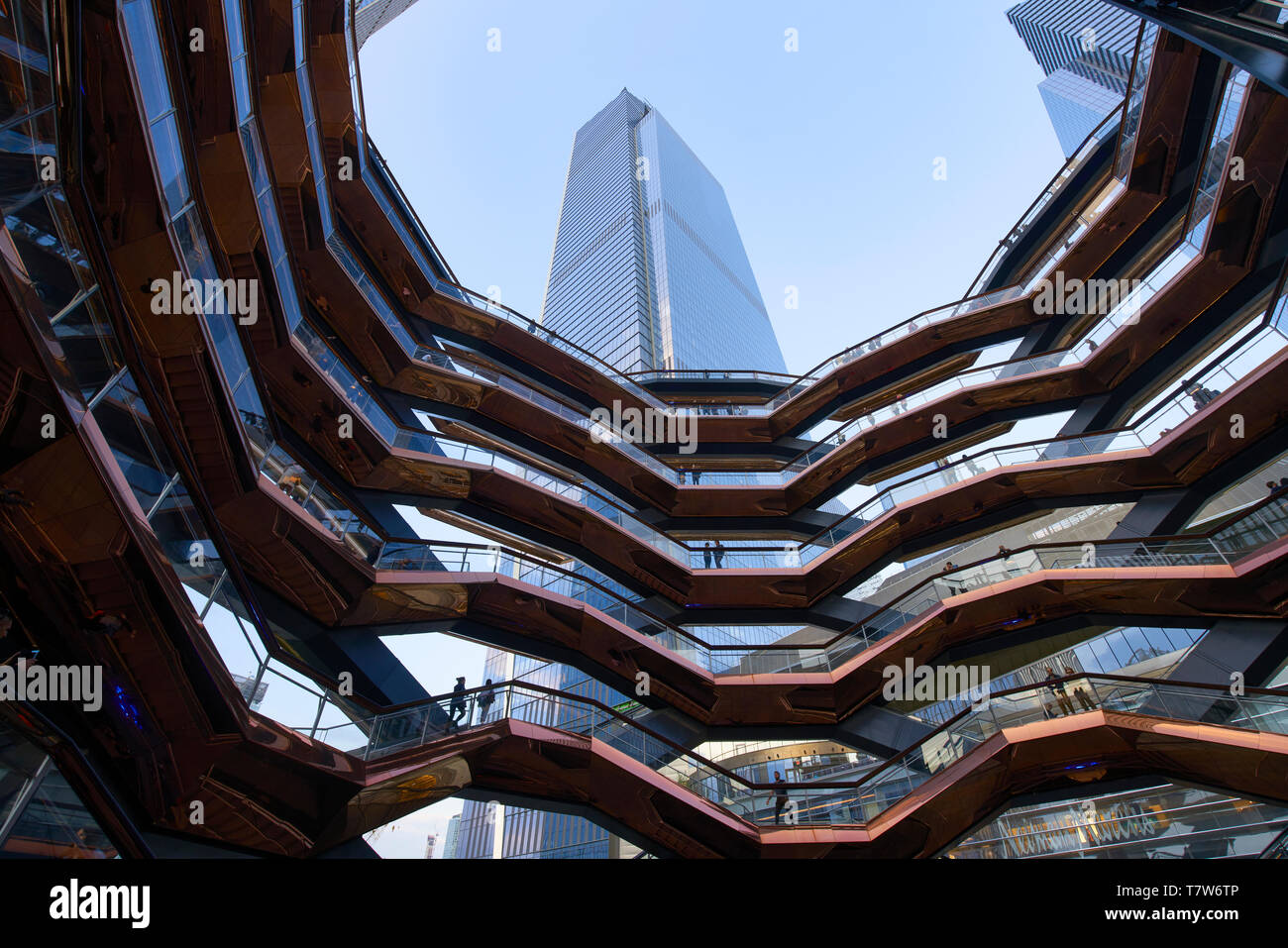 Looking up inside the Vessel interactive artwork at Hudson Yard plaza in New York City Stock Photo