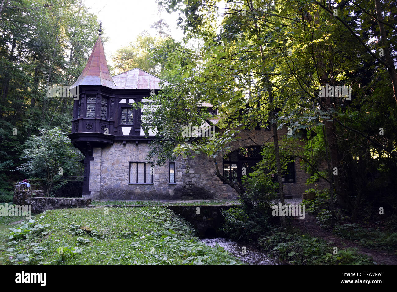 Old traditional Romanian house in Art-Nouveau style. Romania. - Stock Image