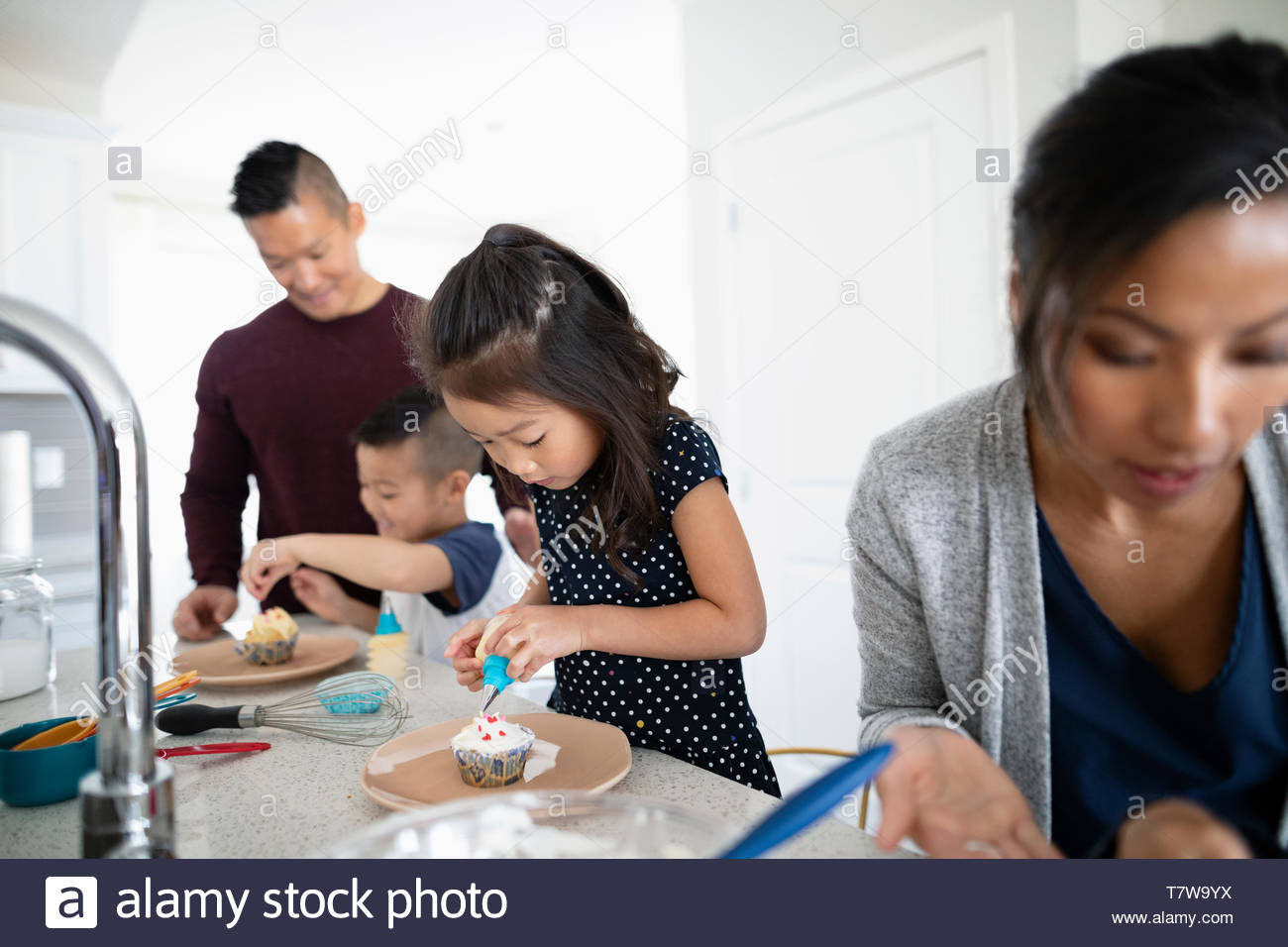 Family decorating cupcakes in kitchen - Stock Image