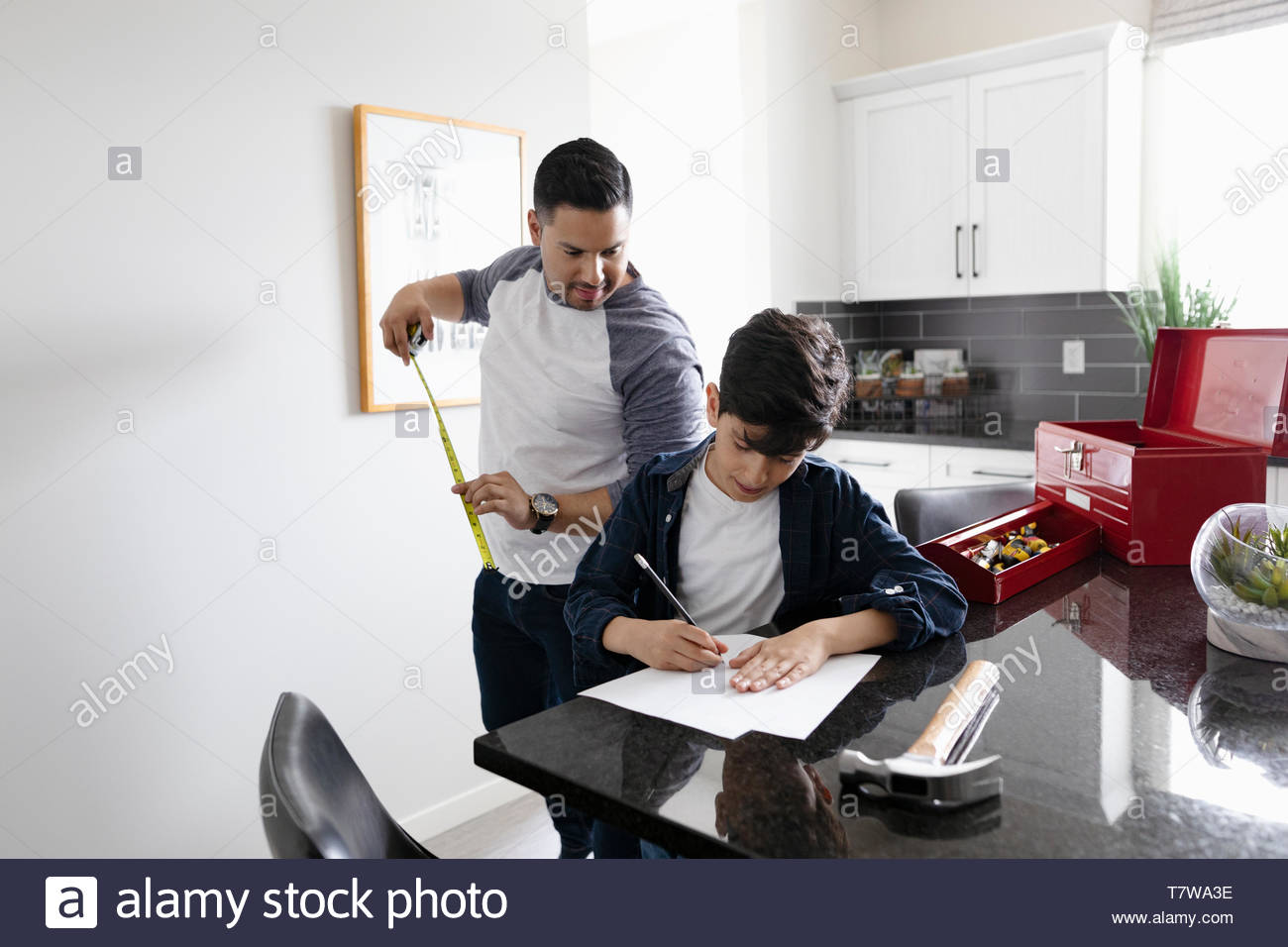 Father and son hanging picture frame in kitchen - Stock Image