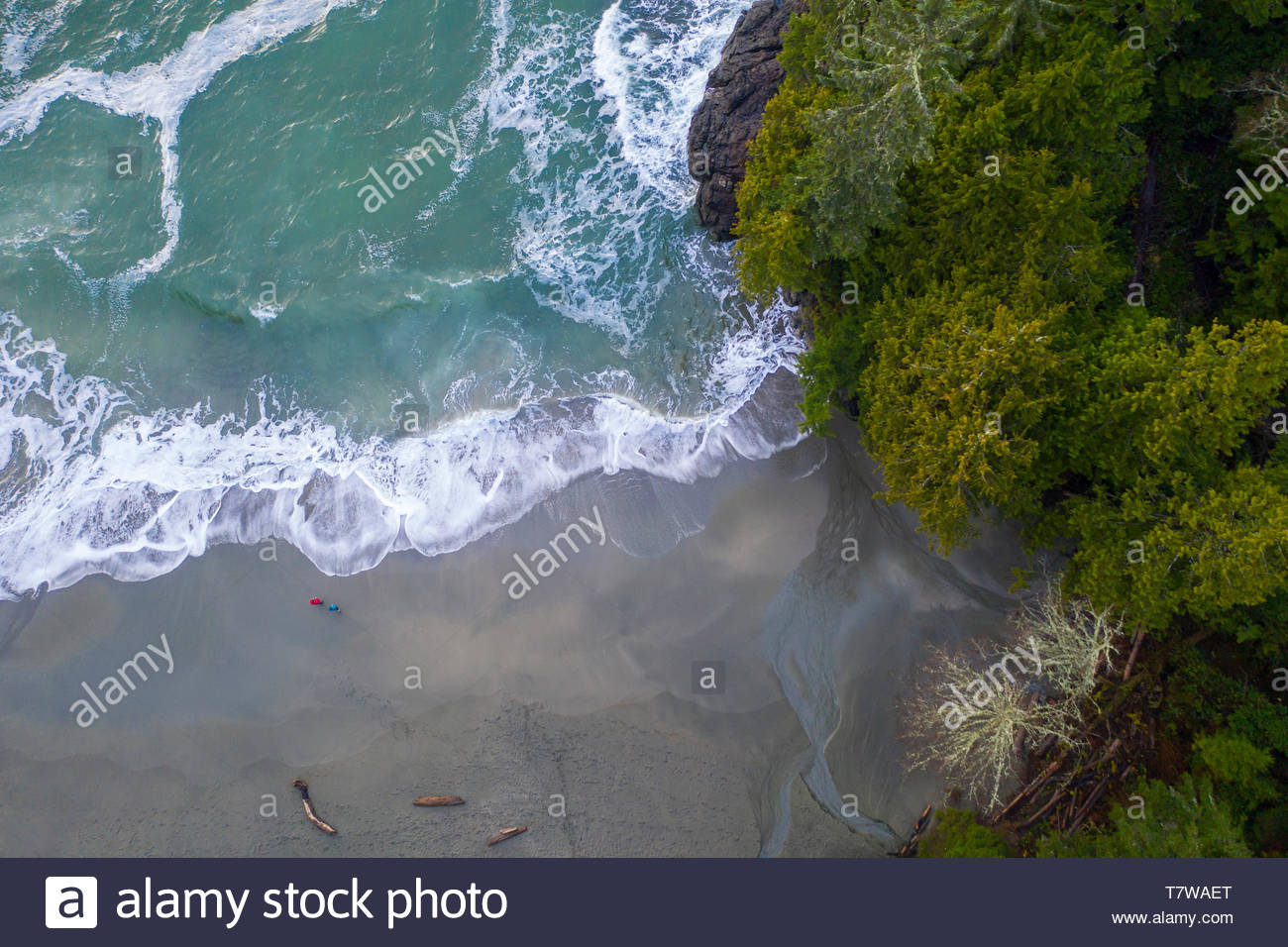Drone point of view rugged ocean beach, British Columbia, Canada - Stock Image