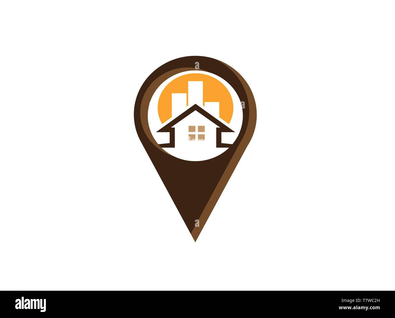 Compass with Indicators dart board in a pin symbol for logo design illustration, home icon, town and city symbol - Stock Vector