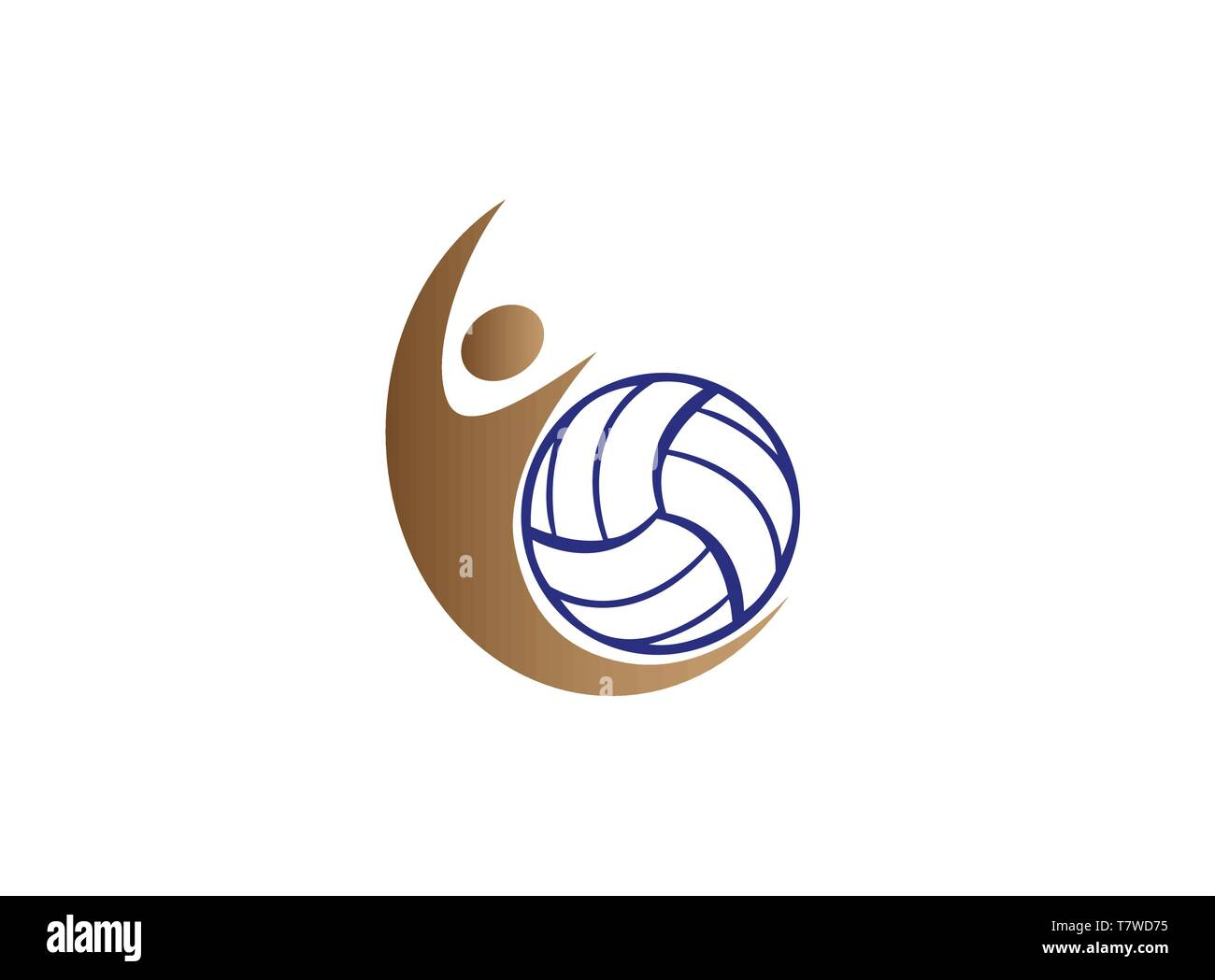 Volleyball Player Smash And Serving Ball For Logo Design Stock Vector Image Art Alamy