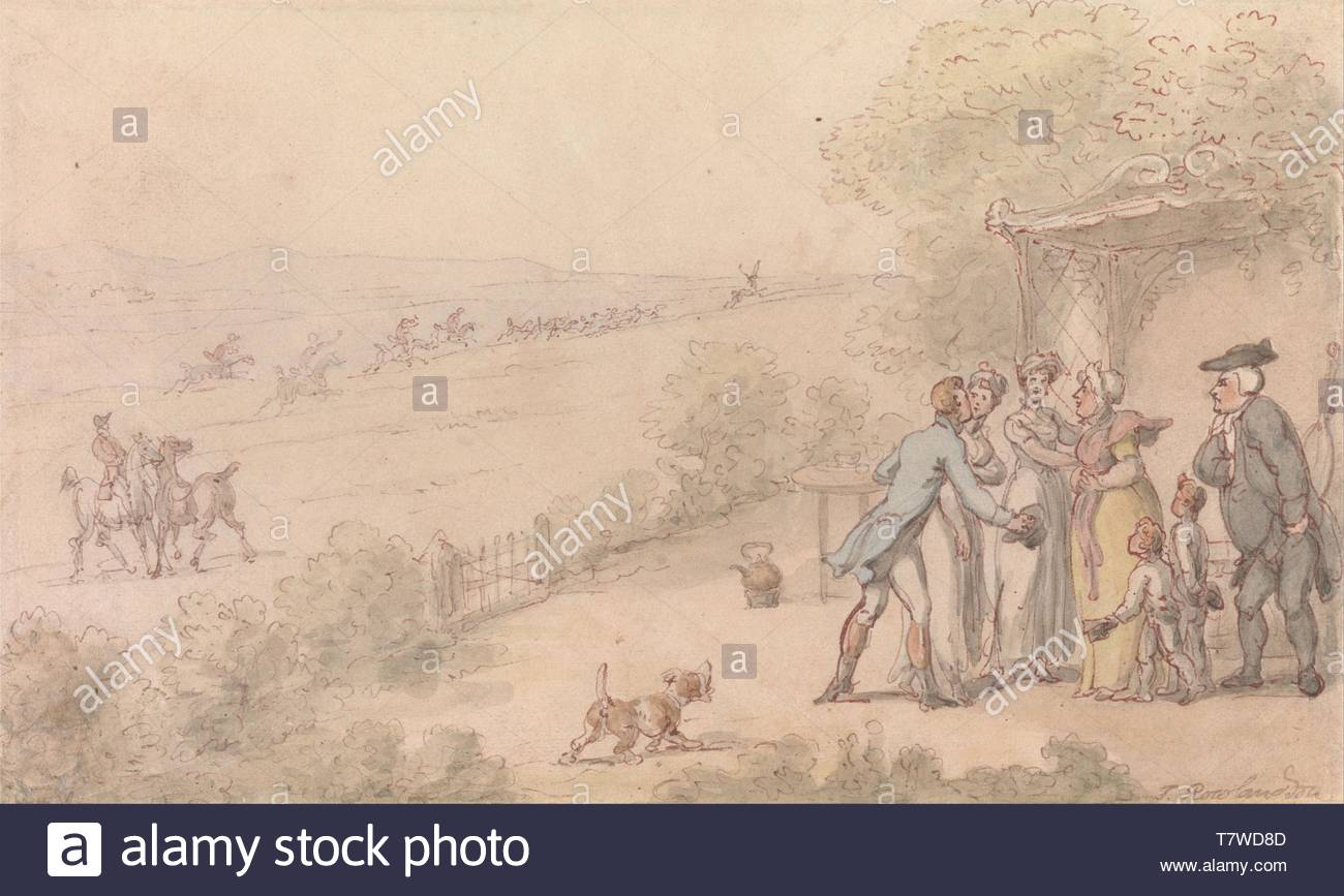 Thomas-Rowlandson-The Vicar of Wakefield- The Esquires Intrusion - Stock Image