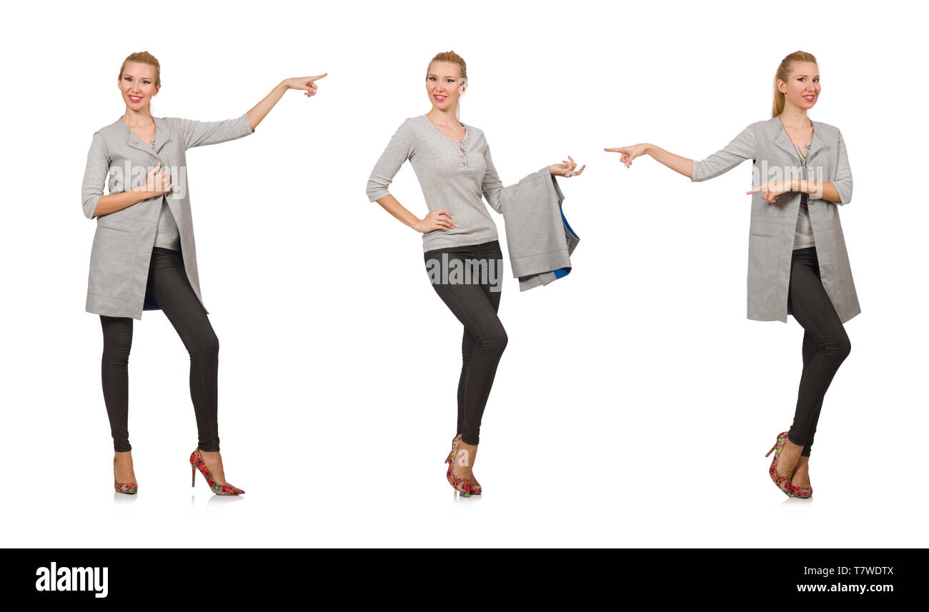 Pretty woman in gray blouse isolated on white - Stock Image