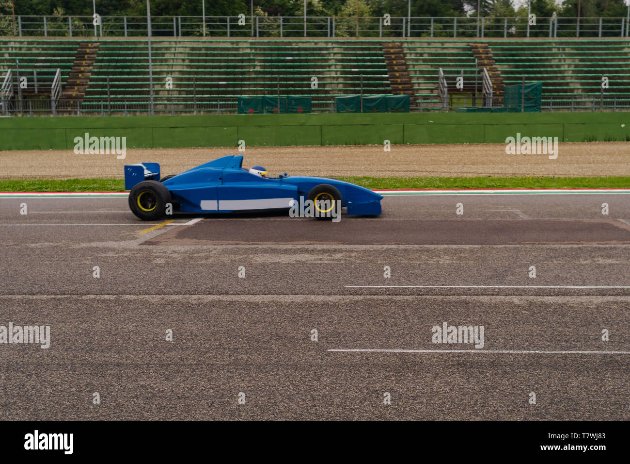 formula car is flying on a track Stock Photo