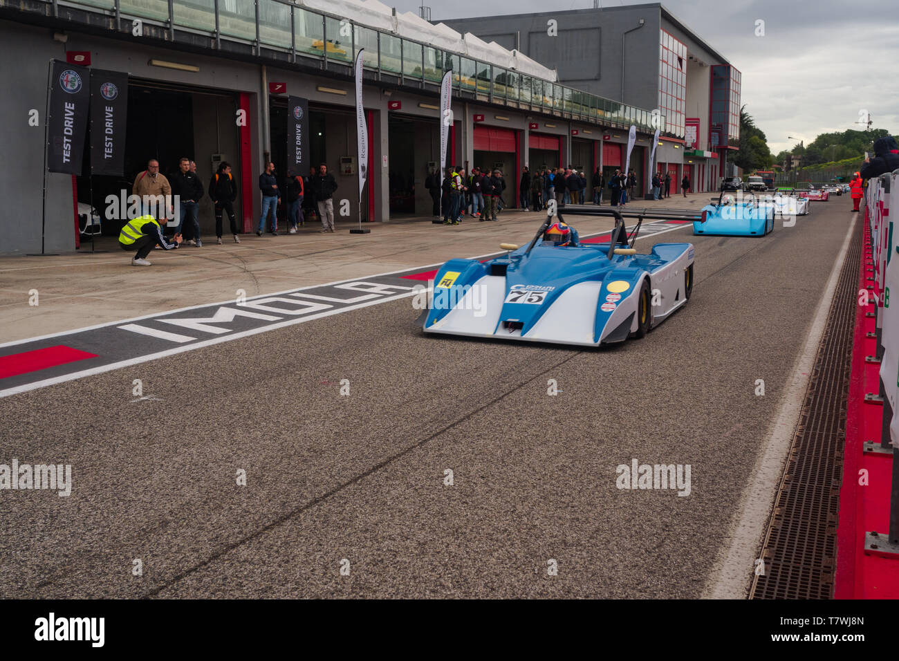 le mans series cars are leaving the box during the historic minardi day Stock Photo