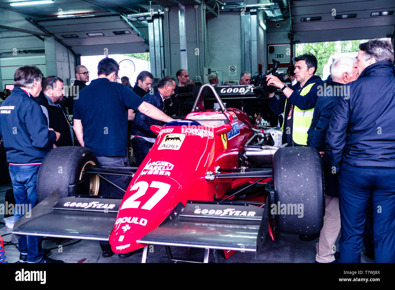 Vintage Ferrari is showed during the Historic Minardi Day Stock Photo