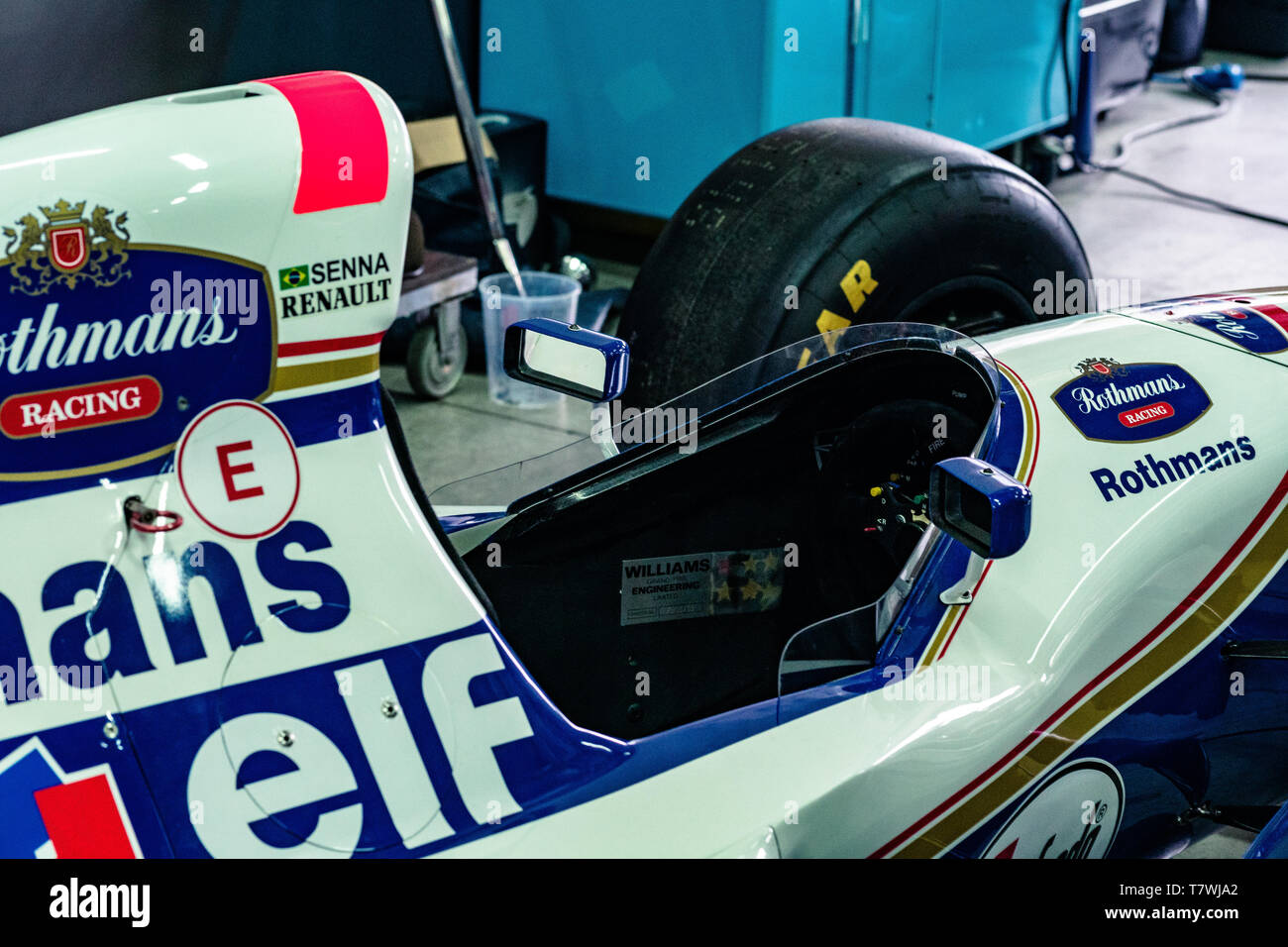 Cockpit of Ayrton Senna's Williams FW16 in a box Stock Photo