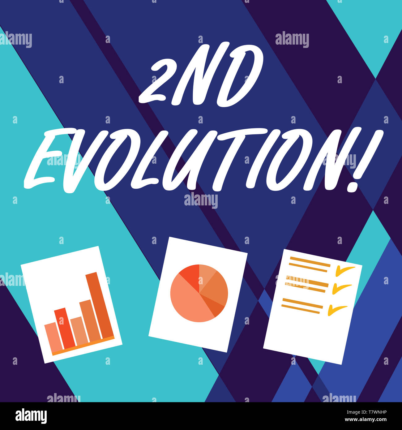 Handwriting text writing 2Nd Evolution. Conceptual photo change in the heritable features of biological populations Presentation of Bar, Data and Pie  - Stock Image