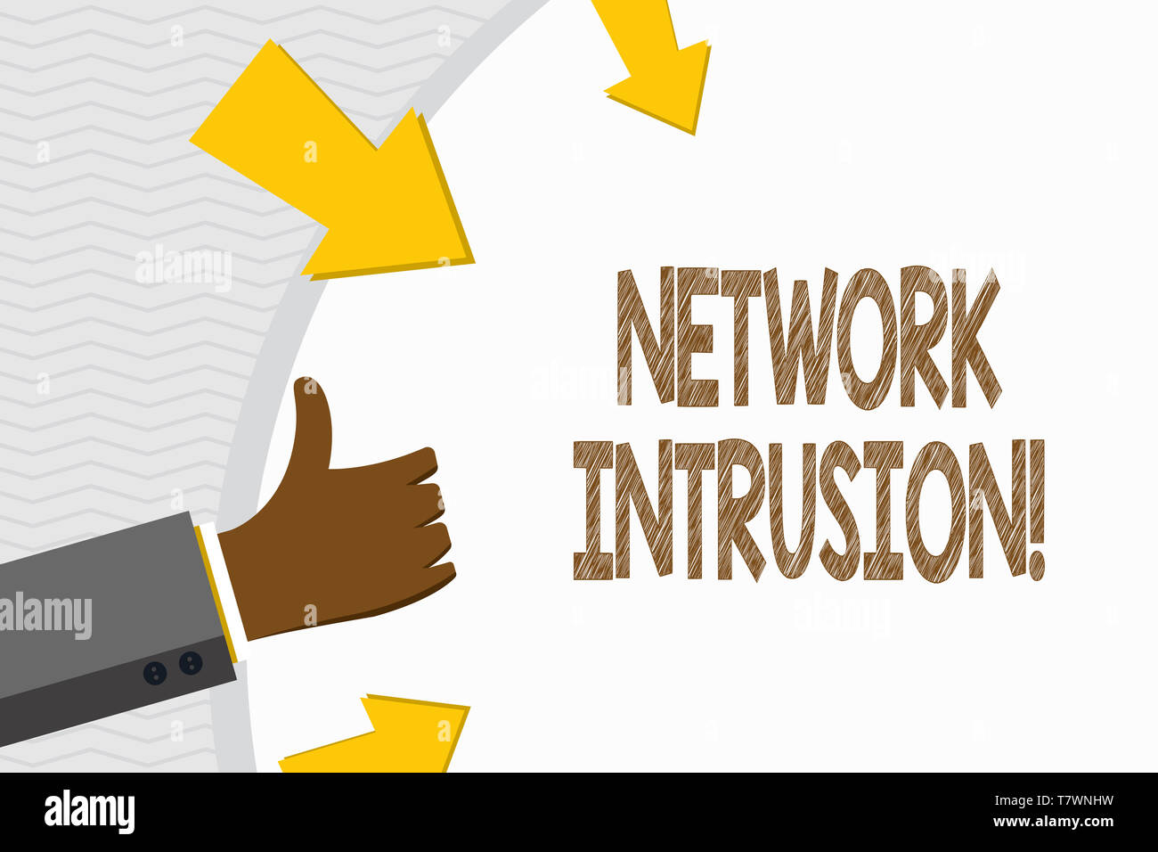 Conceptual hand writing showing Network Intrusion. Concept meaning device or software application that monitors a network Hand Gesturing Thumbs Up and - Stock Image