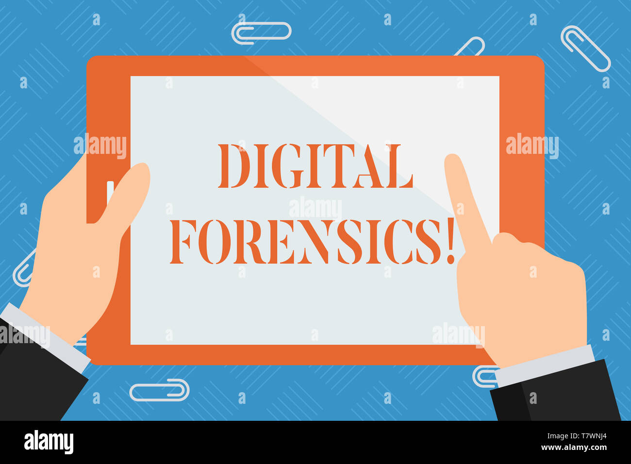 Conceptual hand writing showing Digital Forensics. Concept meaning investigation of material found in digital devices Hand Holding Pointing Touching C - Stock Image